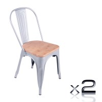 2 Replica Tolix Steel Dining Chairs with Wood Seats