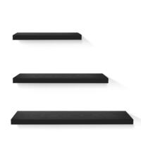 3x Floating Wall Display Bookshelves Set (Black)