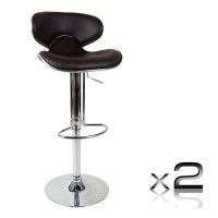 2x Contour PU Leather Gas Lift Bar Stool in Brown