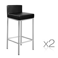 2x Cubic Chrome Leg PU Leather Bar Stool in Black