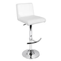 2x Curve Stitch PU Leather Bar Stool in White