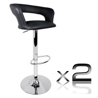 2x Square Slim Back PU Leather Bar Stool in Black