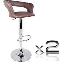 2x Square Slim Back PU Leather Bar Stools in Brown