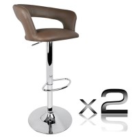 2x Square Slim Back PU Leather Bar Stools in Taupe