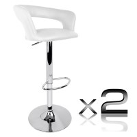 2x Square Slim Back PU Leather Bar Stools in White