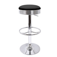 2x Retro Diner Gas Lift PU Leather Bar Stool Black