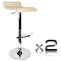 2x S Curve PVC Leather Gas Lift Bar Stools in Beige