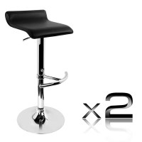 2x S Curve PVC Leather Gas Lift Bar Stools in Black