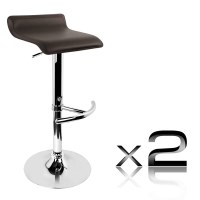 2x S Curve PVC Leather Gas Lift Bar Stools in Brown