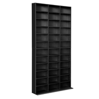 12 Row Wooden Bookshelf Storage Unit in Black