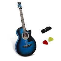 Wooden Acoustic Guitar Blue 38 Inch