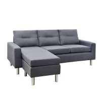 Fabric Sofa Lounge w/ Modular Ottoman Chaise Grey