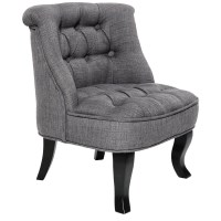 Kid's Chesterfield Lorraine Linen Armchair in Grey