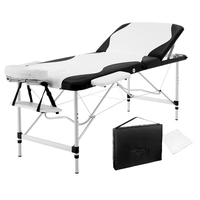 Portable Fold Massage Table Black White 75cm
