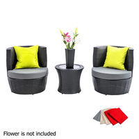 Maldives Stackable Wicker Outdoor Set w/ Vase Black