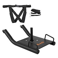 Fitness Power Sled with Harness in Black