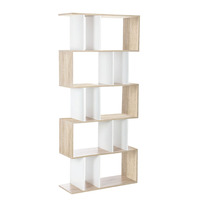 5 Tier Maze White & Wood Bookcase Shelving Unit