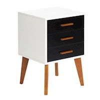 Bedside Table Storage Cabinet in White and Black