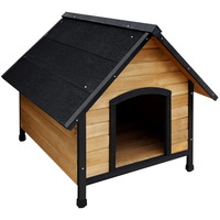 Outdoor Insulated Fir Wood A-Frame Dog House Kennel