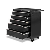 Black Roller Toolbox Cabinet Multi Size 5 Drawers