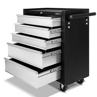 Black Grey 5 Drawers Roller Toolbox Cabinet Matte