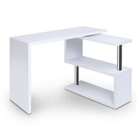 Office Corner Computer Desk with Bookshelf in White
