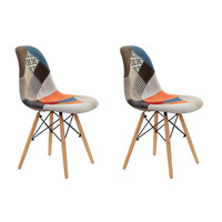 Set of 2 Fabric Dining Side Chairs Eames Replica