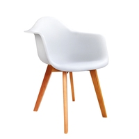 2x Eames Replica Beech Wood Cafe Dining Chair White