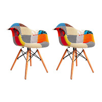 2x Eames DAW Replica Patchwork Fabric Armchairs