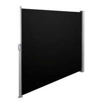 Black Retractable Side Awning Shade Polyester 180cm