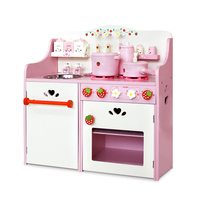 Kids Pink Wooden Kitchen Play Set 9 Pieces