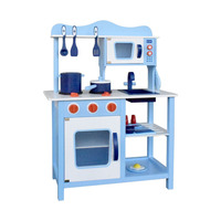 Kids Blue Wooden Kitchen Play Set 18 Pieces