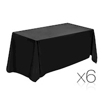 6 Pieces Black Wedding Table Cloth Rectangle 259cm