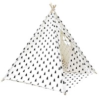 Kids 5 Poles Cotton Teepee Tent w Bag in White Tree