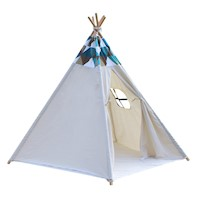 Kids 5 Pole Geometric Print Teepee Indoor Play Tent