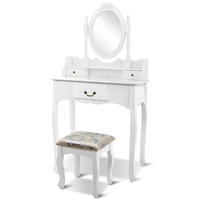 White Mirror Dressing Table 3 Drawers with Stool