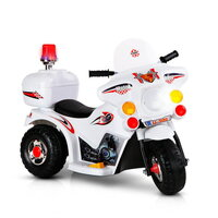 Kids White Ride On Motorbike w/ Triple Wheel Design