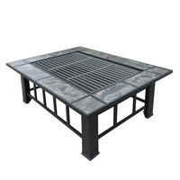 Outdoor BBQ Grill Fireplace Long Table + Ice Tray