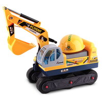 Kids Ride On Car - Excavator in Yellow with Helmet