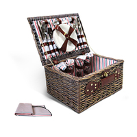 20pc Picnic Basket Set for 4 with Blanket in Brown