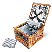 12pc Picnic Basket Set for 2 + Cooler Bag + Blanket