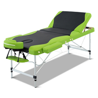 75cm Massage Table Green and Black Aluminium 3 Fold