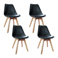 4x Replica Eames PU Leather Dining Chairs in Black