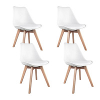 4x Replica Eames PU Leather Dining Chairs in White