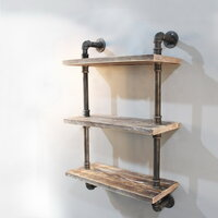 3 Rustic Industrial Pipe & Timber Wall Shelves 61cm