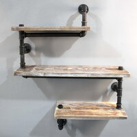 Rustic Industrial Timber & Pipe Snake Shelves 84cm