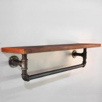 Rustic Industrial Under Pipe Timber Wall Shelf 92cm