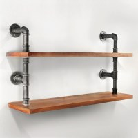 2 Rustic Industrial Pipe & Timber Wall Shelves 61cm