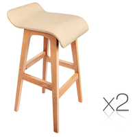 2x S Curve Fabric Beech Wood Bar Stool Beige 74cm