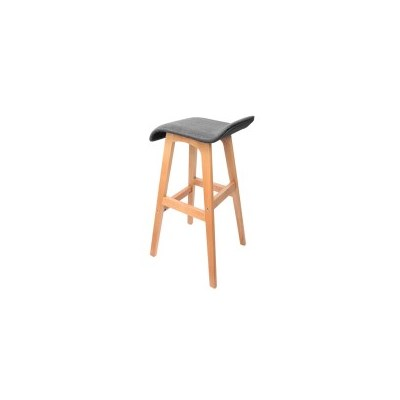 2x S Curve Fabric Beech Wood Bar Stool Black 74cm